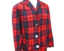 L - XL, 40s 50s Red Plaid Wool 49er Jacket Pockets Long Sleeves Sweater Winter Extra Large