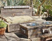 Salvaged Wood Dog Platform Bed andMatching Elevated Feeding Station