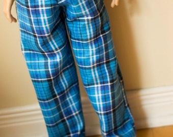 BJD EID Blue Plaid Pyjamas Pants