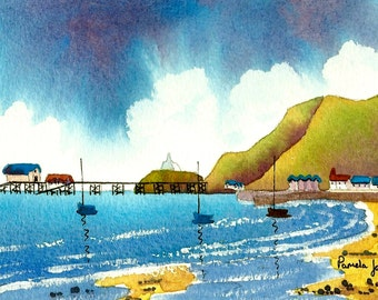 Original Watercolour, Seascape, Painting, Mumbles, Swansea, Wales, 9ins x 7ins, Christmas Gift Idea, Art and Collectibles