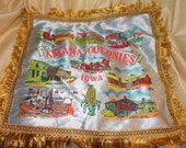 Vintage Red Satin Pillow Sham - Amana Colonies Iowa