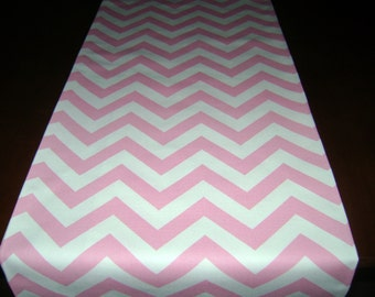 Pink Zig Zag Table Runner, Party Decor Table Runner, Baby Pink Chevron Table Runner