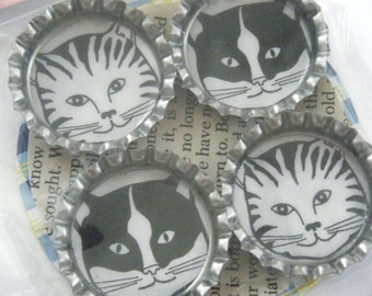 Black White Cat Bottlecap Magnets Whimsical Geekery Kitty Artist Cartoon Bottle Cap Repurposed Paper Upcycled Kid Book Feline Earth Magnet