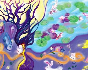 Digital painting print - Goddess of Nature