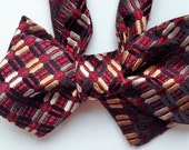 Silk Bow Tie  - Dark Red, Gold and Grey Woven - One-of-a-Kind, Handcrafted for Men - Free Shipping