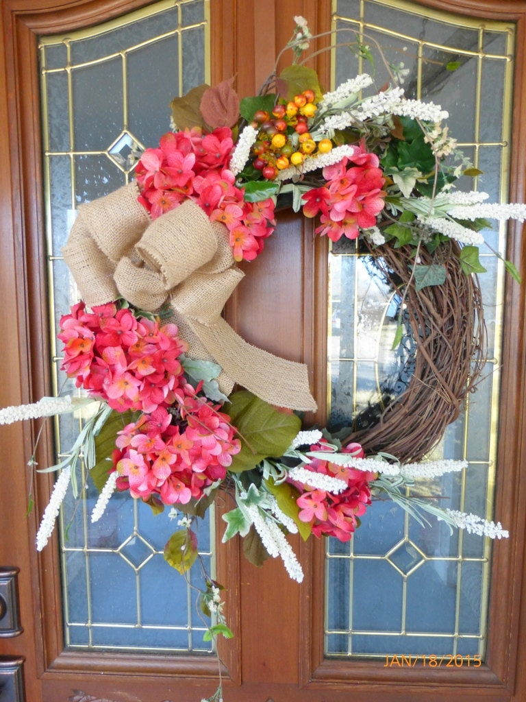 Decorative Hydrangea Wreath   Wreath   Door Wreath   Fall Wreath   Summer  Wreath   Front