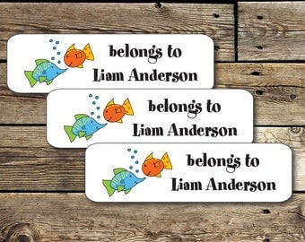 80 Permanent Waterproof Dishwasher Safe Labels for School, Daycare Labels with Fish Design