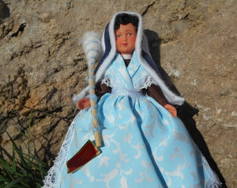 Saint Bernadette of Loudes Shepherdess Folk Doll French Vintage Miniature Doll with Wool Spindle #sophieladydeparis