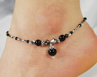 Anklet, Ankle Bracelet, Black Pearl Anklet, Black Anklet, Beaded Anklet. Crystal Anklet, Foot Jewelry, Ankle Jewelry, Beach Jewelry, Cruise