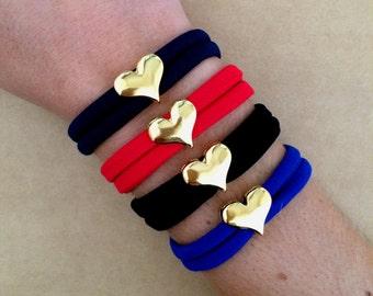 Gold Plated Heart Elastic Jersey Bracelet - Lycra Bracelet, Fabric Bracelet, Wrap Bracelet