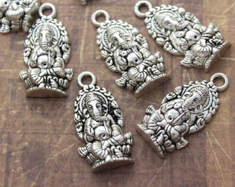 10 Ganesha Charms Ganesha Pendants Antiqued Silver Tone 15 x 22 mm
