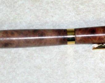 Gold Slimline twist pen with Gmelia burl body