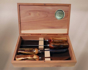 23. Sheffield Steak Knife Set with hand-made wood handles