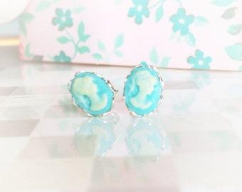 Silver Cameo Earrings, Mini Aqua Blue Cameo in Scallop Sterling Silver Setting