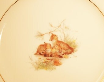 Glen Loates Foxes Plate