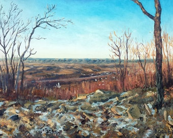 """Original Oil Landscape Painting, Valley View, Oil on 12x16"""" canvas panel, by Sean Bodley"""