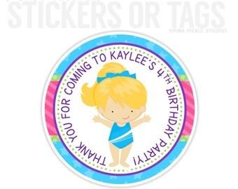 Gymnastics Birthday Stickers, Favor Tags, Happy Birthday Stickers, Gift Tag, Favor Tag, Printable Favor Tags :No.217