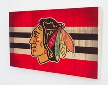 Decorative Wooden Plaque with Chicago Blackhawks Logo - Chicago Blackhawks Wood Sign