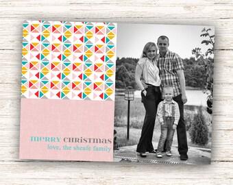 Merry Christmas Holiday Photo Card, Geometric Holiday Card, 5x7 Printable #801