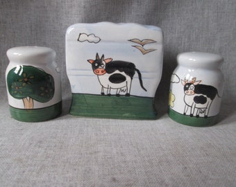 SPECIAL - Insane Zombie Mad Cow Table Set - Napkin Holder and Salt & Pepper Shakers