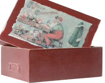 Red Christmas Wood Box, Hand Painted, Santa, Vintage Style Paper, Distressed, Rustic, Card Box Home Decor