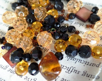 Amber, Black, Topaz Bead Mix Lot, Round, Faceted, Accent, Clear, Jewelry Making, Craft Supply, .033