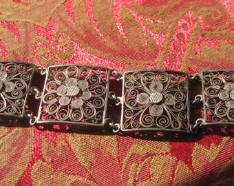 Vintage Sterling Filligree Chinese Handcrafted Bracelet