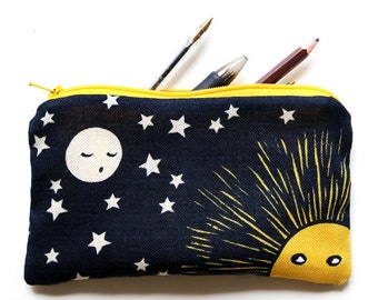 illustrated pencil case - Moon awaits the sun