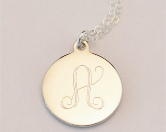 Small Custom Engraved Initial Charm Necklace, Bridesmaid Gift Personalized Necklace, Personalized Jewelry