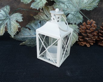 WHITE Mini Metal LANTERN ~ Tea Light tealight Candle Holder ~ Fall Christmas Centerpiece Rustic Decor ~ Primitive ~ Cottage