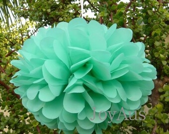 6x dark mint tissue paper pom poms balls flowers wedding party baby shower housewarming birthday anniversary party decoration