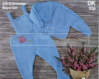 Baby Pram Set DK 19-20in Knitting Pattern PDF instant download