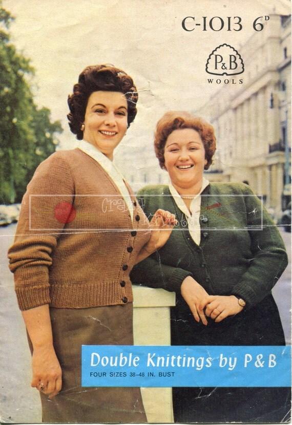 "Lady's Classic V-Neck Cardigan DK 38-48"" Patons C-1013 Vintage Knitting Pattern PDF instant download"