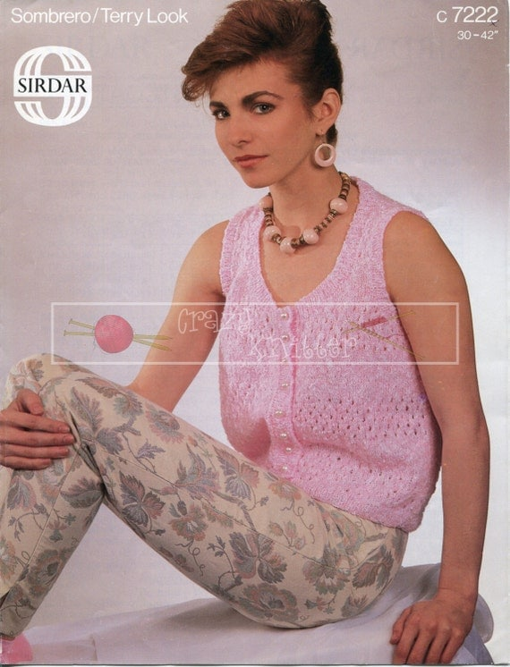 Lady's Waistcoat 4-ply 30-42ins incl Teen Sizes Sirdar 7222 Vintage Knitting Pattern PDF instant download