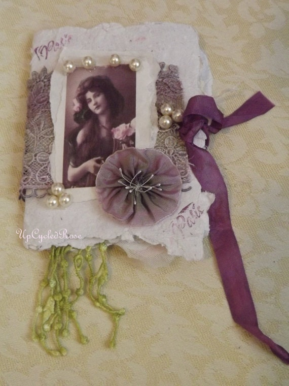 My Romance Novel Mixed Media Handmade in USA Recycled Paper For Your Romantic Memory Scrapbook Gypsy Bohemian Journal