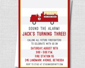 Custom Fire Truck Invitation - Fireman Themed Party - Boy Birthday - Digital Design or Printed Invitations - FREE SHIPPING