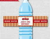 Fire Truck Party Water Bottle Labels - Fire Truck Party - Weatherproof Water Bottle Labels - Digital Design or Handcrafted - FREE SHIPPING