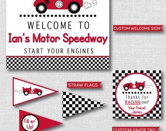 Boy Race Car Birthday Party - Race Car Birthday Printable Party Set - DIGITAL DESIGN