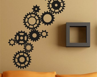 Gears Version 102 Steampunk Wall Decal Sticker Art Graphic Cling Gear  Machine Machinist