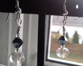 Champagne Colored Glass Rondels & Silver/Black Crystals