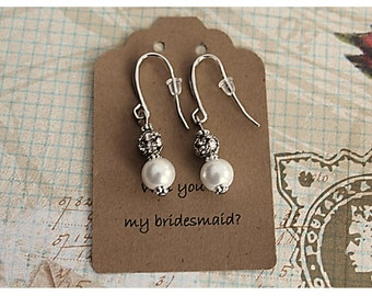 Sale - Bridesmaid Gift White Earrings and Rhinestone Bead Bride White Pearl Earrings Will You Be My Bridemaid