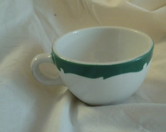 On Sale Collectible Diner Style Shenango China White and Green Coffee Cup Restaurant Ware