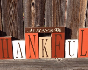 Fall wood blocks--Always be Thankful