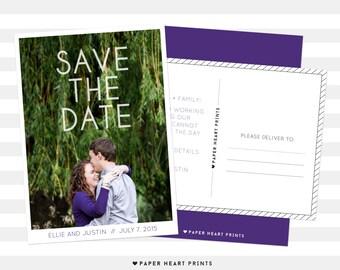 Save-the-Date Postcard, Custom Wedding Photo Card, Modern Save the Date Photo Card - Ellie