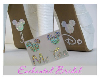 Disney Inspired I Do and Me Too Shoe Stickers You Pick Color Sparkly Wedding Shoe Decals