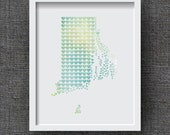 Rhode Island Watercolor Art Print, Watercolor State Heart - Watercolor State Art, Rhode Island Hearts - Wedding Gift