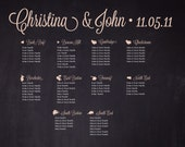 Wedding Seating Chart - Custom Chalkboard Style City Neighborhood Seating Chart to Match City Table Card Numbers