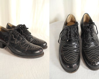 Vintage 1930s Shoes - 30s Oxford Heels, 1930s Swing Dance Shoes, Black Leather Oxfords
