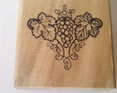 Wood mounted rubber stamps Grapes with leaves Anita's by Sugarloaf size E