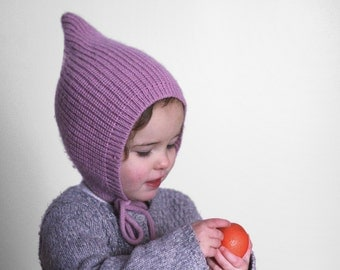 Pixie knit hat - Baby Pixie bonnet - Knitted hat Pixie  - Elf knit hat